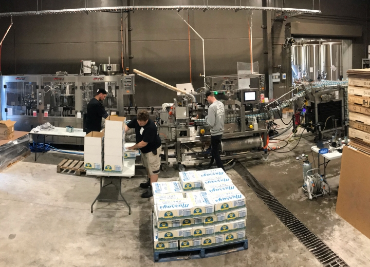 Wide shot of East Coast Canning filling at brewery
